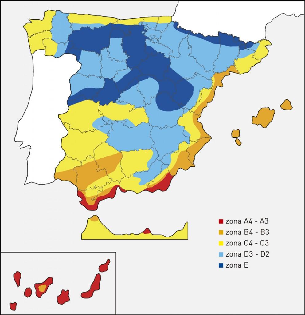 Mapa zonas climáticas España